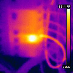 Thermal image showing electrical issue
