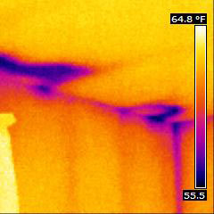 Thermal image shows missing insulation