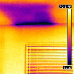 Thermal Image of a Moisture instrusion above a window
